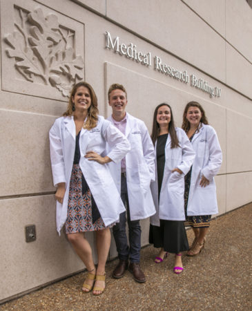 From left, Tierney Baum, Samuel Scott, Rebecca Buchanan and Jordyn Sanner, among 65 new enrollees in the Interdisciplinary Graduate Program