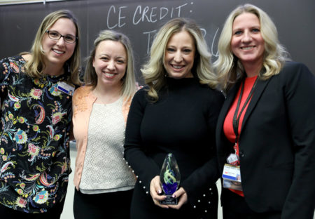 Kim Sandler, MD, second from right, received the Advanced Practice Ambassador Award at the Advanced Practice Grand Rounds kickoff. With her are, from left, Jessica Walker, DNP, APRN, Alexis Paulson, MSN, APRN, and Amanda Dickert, CRNA.