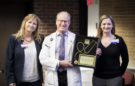 Richard Miller, MD, received the Advanced Practice Ambassador Award. Here, he's with Elizabeth Card, APRN, left, and Briana Witherspoon, DNP, ACNP. (photo by Susan Urmy)