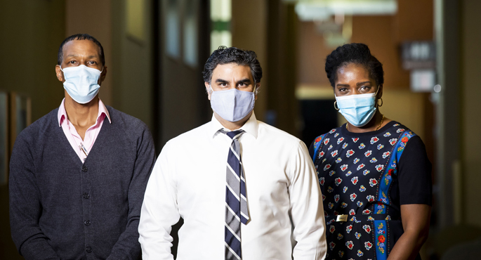 The care team at the Vanderbilt Adolescent and Young Adult Health Care Transition Clinic includes DeWayne Parker, LBSW, left, Neerav Desai, MD, and Aima Ahonkhai, MD, MPH.