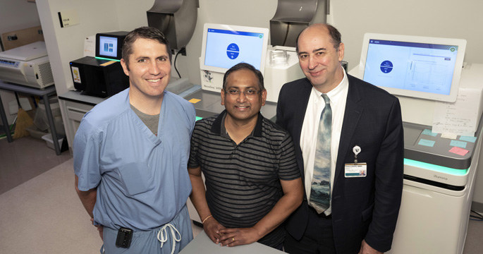 From left, Alexander Gelbard, MD, Suman Das, PhD, and Simon Mallal, MBBS, are among a team of researchers searching for the cause of a rare airway disease that almost exclusively affects adult, Caucasian women.