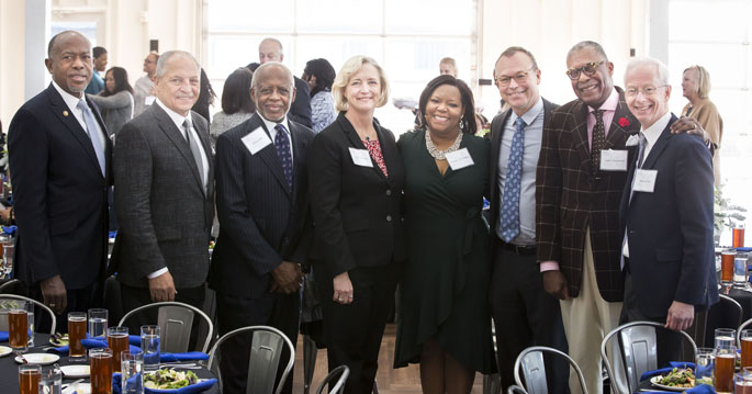 Among those at the Meharry-Vanderbilt Alliance anniversary celebration were, from left, James E.K. Hildreth, MD, PhD, John Maupin Jr., DDS, George Hill, PhD, Susan Wente, PhD, Consuelo Wilkins, MD, MSCI, Jeff Balser, MD, PhD, André Churchwell, MD, and Donald Brady, MD.