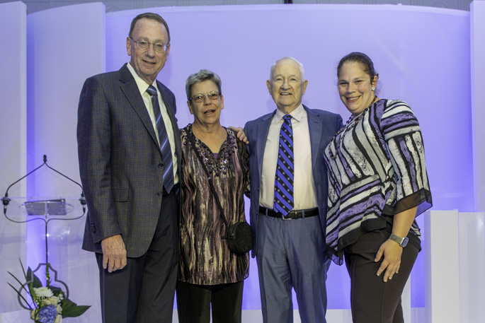 William Stead, MD, VUMC's Chief Strategy Officer, is a 2019 recipient of Duke Medical Alumni Association's Distinguished Alumnus Award. Considered a pioneer in the application of communication and information technology to improve the practice of medicine. Stead, left, is flanked by Janet Stead, W. Ed Hammond, PhD, and Elizabeth Stead and received the award during the Duke Medical Alumni Weekend in early November.