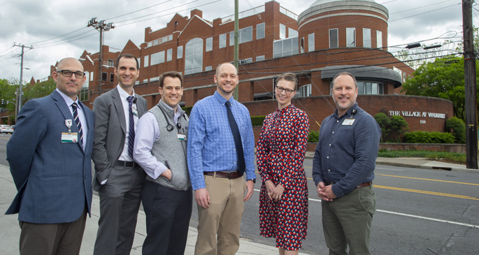 The Addiction Bridge Clinic will be staffed by a multispecialty team, including, from left, David Edwards, MD, PhD, David Marcovitz, MD, William Sullivan, MD, MEd, Cody Chastain, MD, Katie White, PhD, MD, and Jason Ferrell, LCSW.