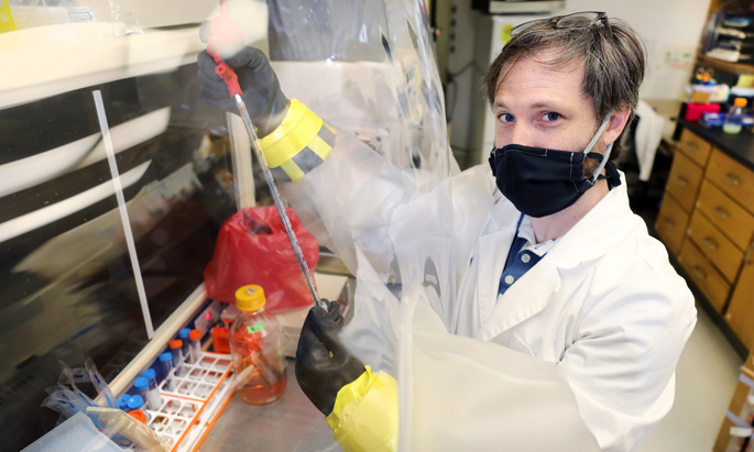 """Aaron Wexler, PhD, works with C. diff in a special """"anaerobic chamber"""" because the bacteria die if they are exposed to oxygen."""