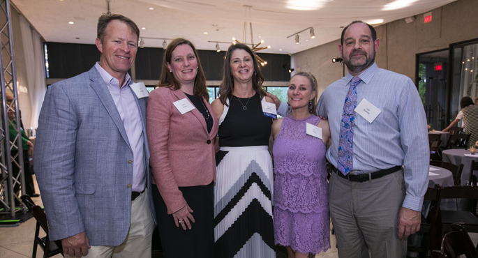 "Elizabeth ""Betsy"" Barbour, center, spoke about her husband's transplant journey at the annual VUMC donor event. With her are, from left, Eric Grogan, MD, MPH, Ciara Shaver, MD, PhD, Jennifer Gray, PharmD, and Ivan Robbins, MD."