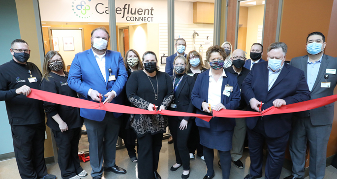 Officials cut the ribbon to celebrate the opening of Carefluent Connect, VUMC's new durable medical equipment company located at Vanderbilt Health One Hundred Oaks.