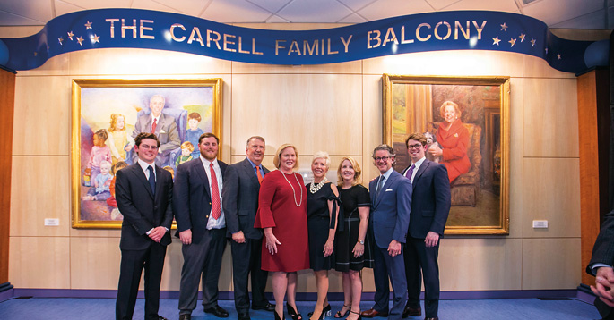 Monroe Carell Jr. Children's Hospital at Vanderbilt recently celebrated the newly dedicated Carell Family Balcony. Pictured from left: William Johnson, Nicholas Brown, David H. Brown, Kathryn Carell Brown, Julie Carell Stadler, Edie Carell Johnson, David B. Johnson and Monroe Stadler.