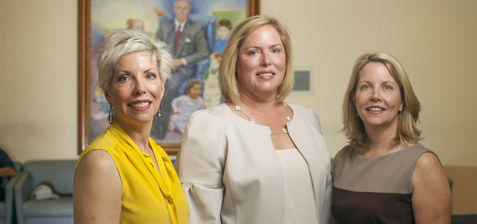 Julie Carell Stadler, left, Kathryn Carell Brown and Edie Carell Johnson are endowing a new chair in Pediatric Infectious Diseases research at Vanderbilt University School of Medicine.