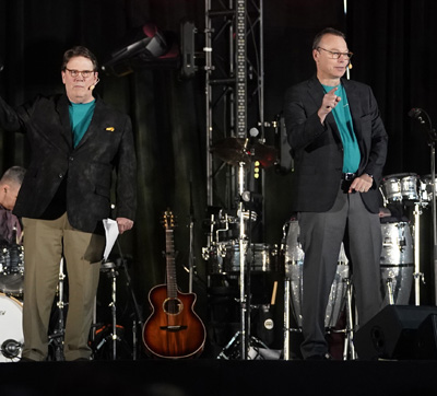 Jeff Balser, MD, PhD, right, and C. Wright Pinson, MBA, MD, spoke at last week's Celebrate events.