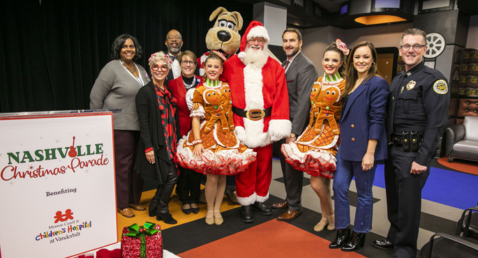 Leaders from Monroe Carell Jr. Children's Hospital at Vanderbilt and the community join performers and sponsors for a press conference announcing the talent roster for the 2019 Nashville Christmas Parade.