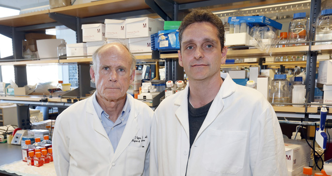 Research by Robert Coffey, MD, left, Dennis Jeppesen, PhD, and colleagues has revealed a new way cells shed DNA into the bloodstream.