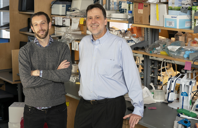 Max Joffe, PhD, left, P. Jeffrey Conn, PhD, and colleagues are studying a new class of antidepressants that may relieve symptoms more rapidly and with fewer side effects.