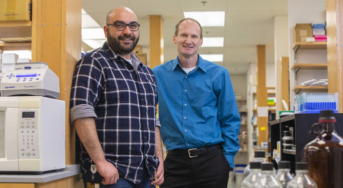 Kareem Mohni, PhD, left, and David Cortez, PhD, have discovered a new DNA repair pathway that guards against genomic mutations.