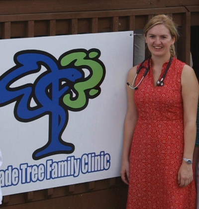 Katie Cox Johnson, MD, at the opening of the Shade Tree Clinic.