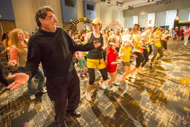 Chancellor Nicholas S. Zeppos (far left) joins Vanderbilt students for Dance Marathon's Big Event 2015. (Daniel Dubois/Vanderbilt)