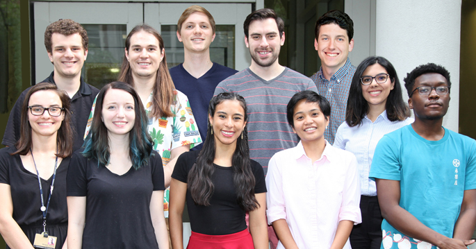 Recipients of the 2019 Dean's Award for Exceptional Achievement in Graduate Studies are (front row, from left) Margaret Axelrod, Abigail Neininger, Alejandra Romero-Morales, Sheryl Vermudez, Demond Williams, and (back row, from left) James O'Connor, Manuel Castro, Matthew Cottam, Matthew Wleklinski, Michael Doyle and Azadeh Hadadianpour.