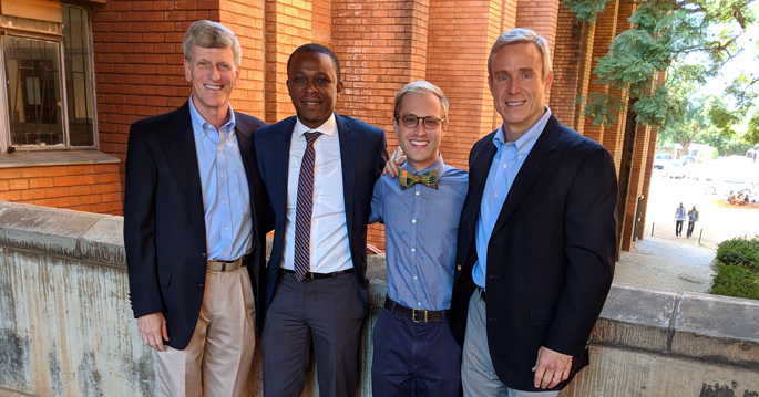 The study team includes, from left, Douglas Heimburger, MD, MS, Kondwelani Mateyo, MBChB, MMed, Justin Banerdt, MD, MPH, and E. Wesley Ely, MD.