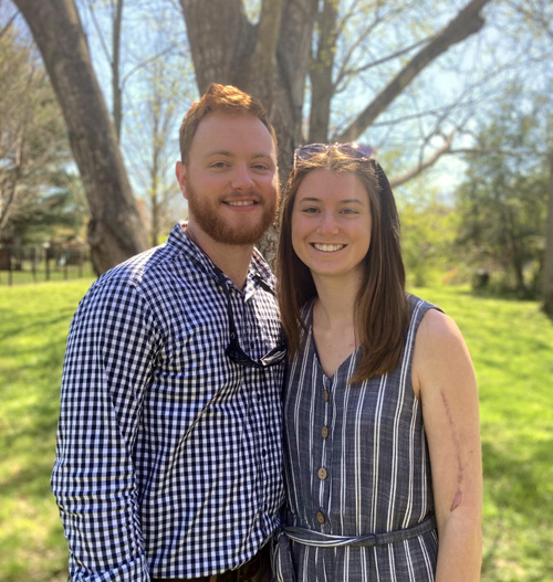 William Nolan and Cassie Rooke were treated at VUMC after being injured in a windstorm last year.