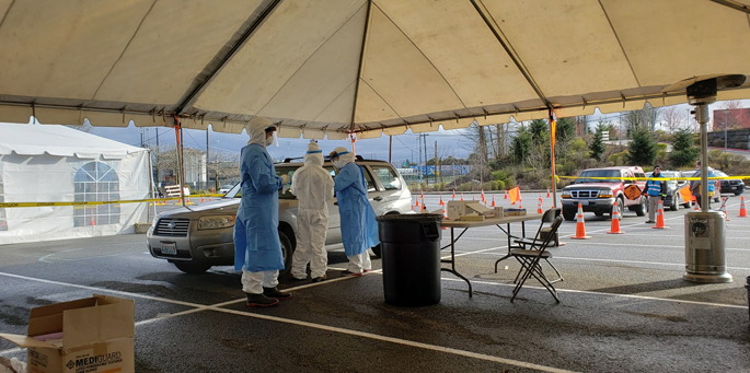 VUMC's REDCap team helped the Washington State Department of Health ramp up its COVID-19 drive-through testing capabilities. Above, testing is performed in Everett, Washington, in March.