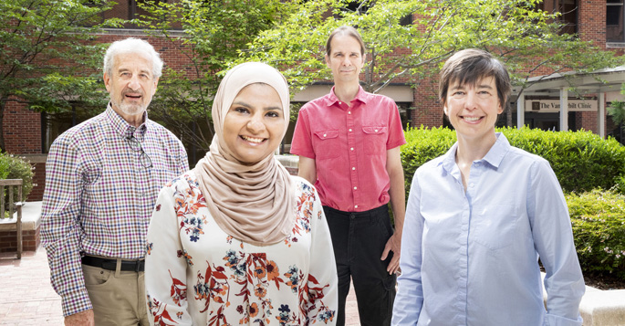From left, Dan Roden, MD, Ayesha Muhammad, Jonathan Mosley, MD, PhD, and Sara Van Driest, MD, PhD, found that a genome-wide approach can improve the prediction of drug responses.