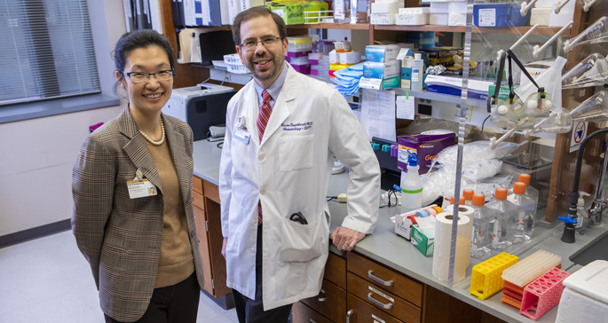 Dae Kwang Jung, left, Brian Engelhardt, MD, MSCI, and colleagues are studying why stem cell transplant patients are at risk of developing diabetes.
