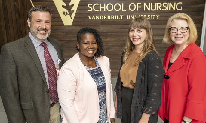 VUSN's Christian Ketel, DNP, MSN, left, Courtney Pitts, DSN, Leah Branam and Pam Jones, DNP, will use HRSA grants to increase the number of nurse practitioners in rural and medically underserved areas.