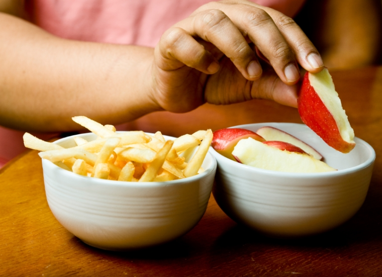 fries apple slices food portions