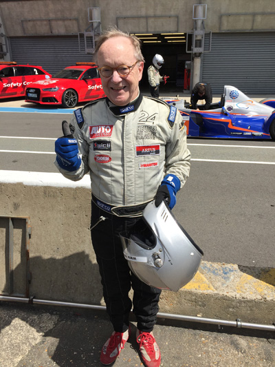 David Taber, MD, suited up a couple of years ago for a ride in a prototype sports car at the track in Le Mans, France. Taber has had a lifelong interest in cars and motor racing.