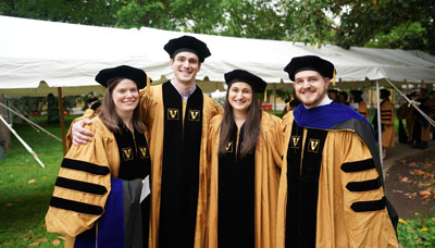 From left, the Graduate School's Tracy Fetterly, Brandon Turner, Allyson Mallya and Michael Tackenberg all earned PhD degrees in Neuroscience.