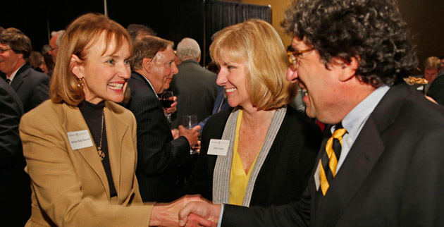 Chancellor Nicholas S. Zeppos (right) and Vice Chancellor for Public Affairs Beth Fortune (center) greet Tennessee House Speaker Beth Harwell at the Jan. 9 reception. (John Russell/Vanderbilt)