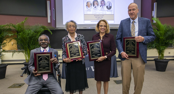 "John Wiley, Marian ""Peggi"" Wiley, Pamela Gunter-Smith, PhD (granddaughter of William Gunter Sr., and Randy Bates were recognized at the Hidden VUMC Figures event held Nov. 4."