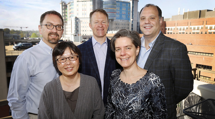 The Vanderbilt team studying histoplasmosis includes (front row, from left, Heidi Chen, PhD, Melinda Aldrich, PhD, MPH, (back row, from left) Stephen Deppen, PhD, Eric Grogan, MD, MPH, and Jeffrey Blume, PhD.