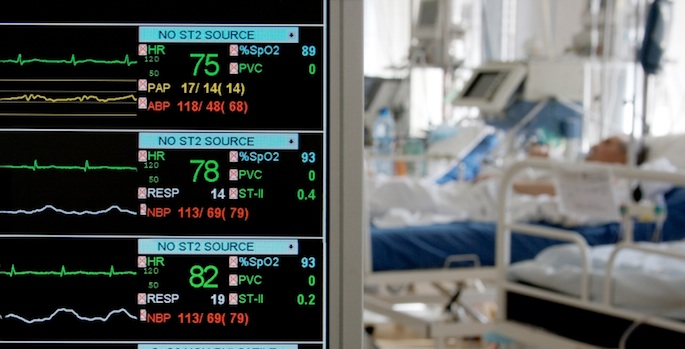 ICU monitor and bed