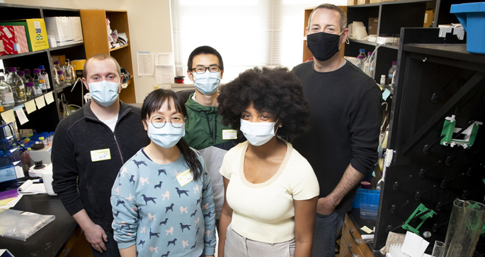 The team studying the regulation of innate immune response includes (front row, from left) Yang Zhao, Antiana Richardson, (back row, from left) John Karijolich, PhD, Xiang Ye and William Dunker.