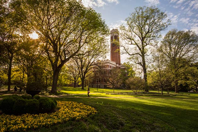 View of Kirkland Hall and the Vanderbilt campus in Spring.