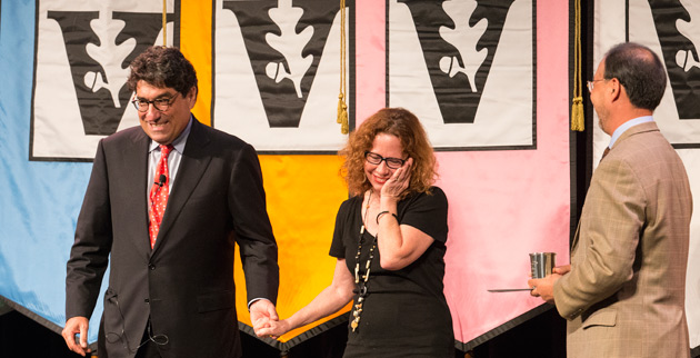 Chancellor Nicholas S. Zeppos (left) and Faculty Senate Chair Paul Lim (right) present the 2014 Earl Sutherland Prize to Jane Landers, Gertrude Conaway Vanderbilt Professor of History. (Joe Howell/Vanderbilt)