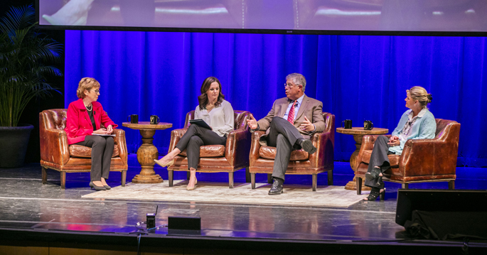 A panel discussion at last week's Leadership Assembly focused on the importance of talking with patients about uncomfortable but crucial topics. From left are Marilyn Dubree, MSN, RN, Julie Burton, LCSW, David Raiford, MD, and Martha Reeves, RN.