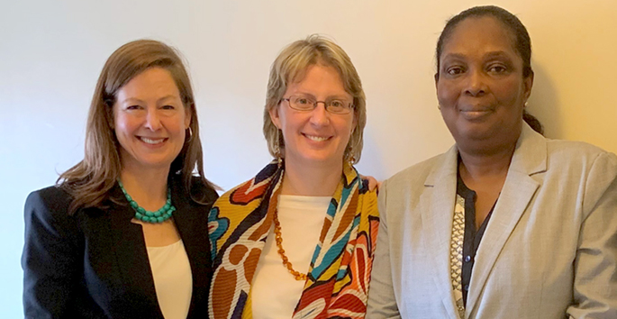 Marie Martin, PhD, left, MEd, Kristina Talbert-Slagle, PhD, and Bernice Dahn, MD, MPH, are leading the effort to enhance Liberia's education and health sectors.