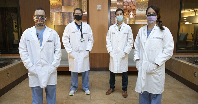 The Liver Transplant Anesthesia team includes, from left, Clayne Benson, MD, Kevin Furman, MD, Philip Leisy, MD, and Kara Siegrist, MD.