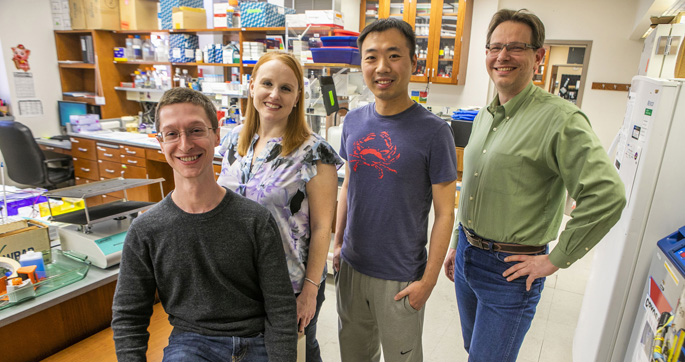 From left, Benjamin Brown, Christine Lovly, MD, PhD, Yun-Kai Zhang, PhD, Jens Meiler, PhD, and colleagues are exploring new ways to understand resistance to targeted cancer therapy drugs.