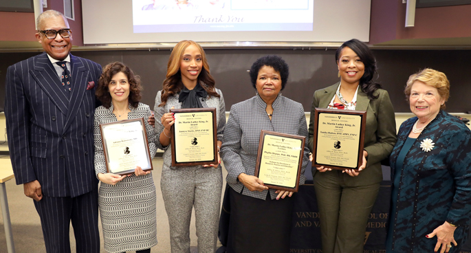 From left are VUMC Chief Diversity Office Andre Churchwell, MD; Dr. Martin Luther King Jr. Award honorees Adriana Bialostozky, MD, and Jannyse Starks, DNP, FNP-BC; keynote speaker Phyllis Sharps, PhD, RN; and honoree Tamika Hudson, DNP, APRN, FNP-C; and School of Nursing Dean Linda Norman, DSN, RN.