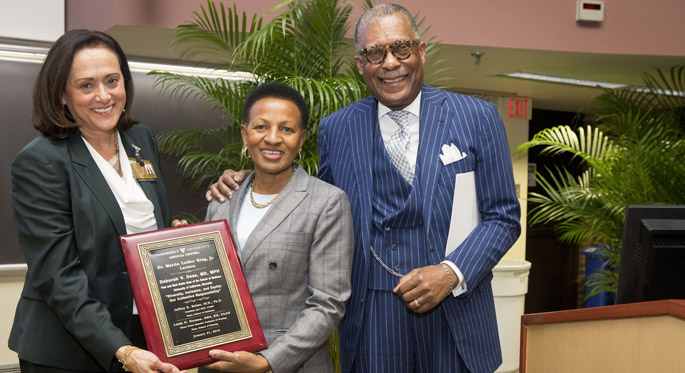 University of California, Riverside's Deborah Deas, MD, center, delivered Monday's Martin Luther King Jr. Commemorative Lecture. Here she poses for a photo with Vanderbilt's Jana Lauderdale, PhD, RN, and André Churchwell, MD. (photo by Susan Urmy)