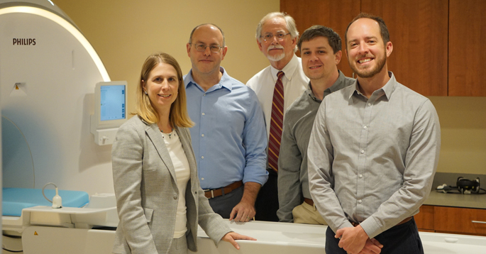 Investigators using MRI technology to study changes in pancreatic volume to better understand the progression of Type 1 diabetes include, from left, Melissa Hilmes, MD, Daniel Moore, MD, PhD, Alvin Powers, MD, Jon Williams, PhD, and Jack Virostko, PhD.