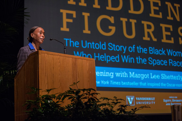 "Author Margot Lee Shetterly discussed her best-selling book ""Hidden Figures: The American Dream and the Untold Story of the Black Women Mathematicians Who Helped Win the Space Race"" Feb. 20 in Sarratt Cinema. (Anne Rayner/Vanderbilt)"