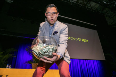 Daniel Hong, who will be doing his orthopaedic surgery residency at Columbia University Medical Center, took home the fish bowl for being the final student named on Match Day.