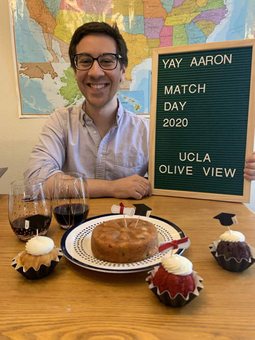 During virtual Match Day, Aaron Azose learned he will do his residency in internal medicine at UCLA Medical Center Olive View in California.