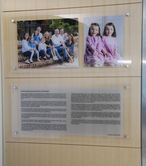 The clinic was supported by a philanthropic gift from Brenda and Colin Reed and family in honor of the life-saving fetal care for their twin granddaughters, Alice and Olivia, now 5.