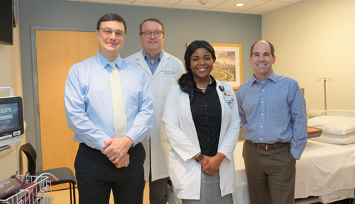 John Koethe, MD, MSCI, left, Kevin Niswender, MD, PhD, LaToya Hannah, MSN, APRN, Matt Luther, MD, associate professor of Medicine, and colleagues have formed a new Human Metabolic Physiology Core at VUMC to support studies requiring human adipose tissue.