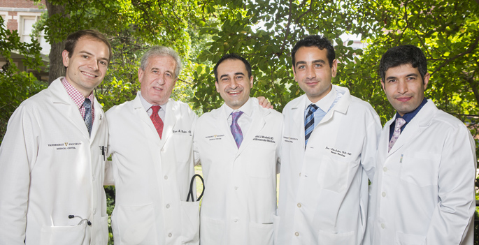 The study team included, from left, Douglas Johnson, MD, Dan Roden, MD, Javid Moslehi, MD, Joe-Elie Salem, MD, PhD, and Ali Manouchehri, MD.